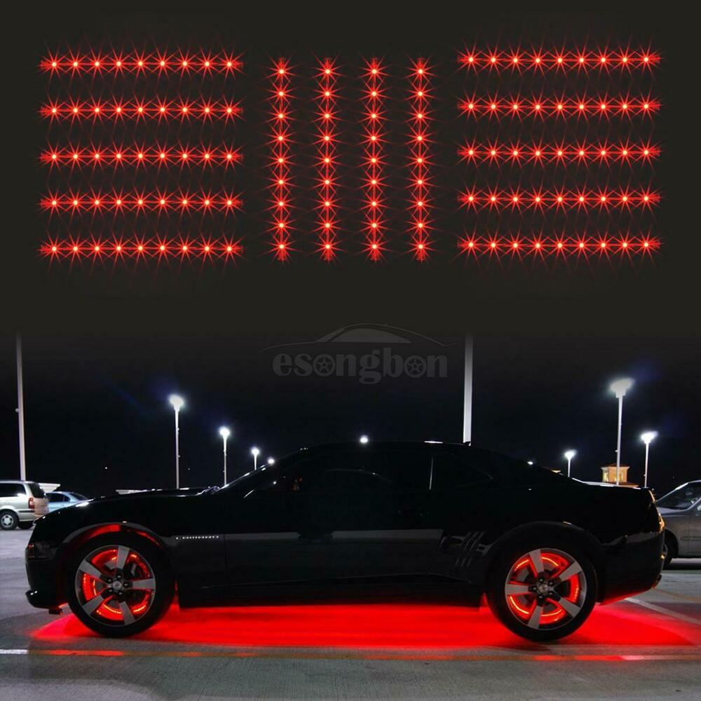 14pc red car truck underglow under body neon accent glow led lights 12 strip ebay. Black Bedroom Furniture Sets. Home Design Ideas