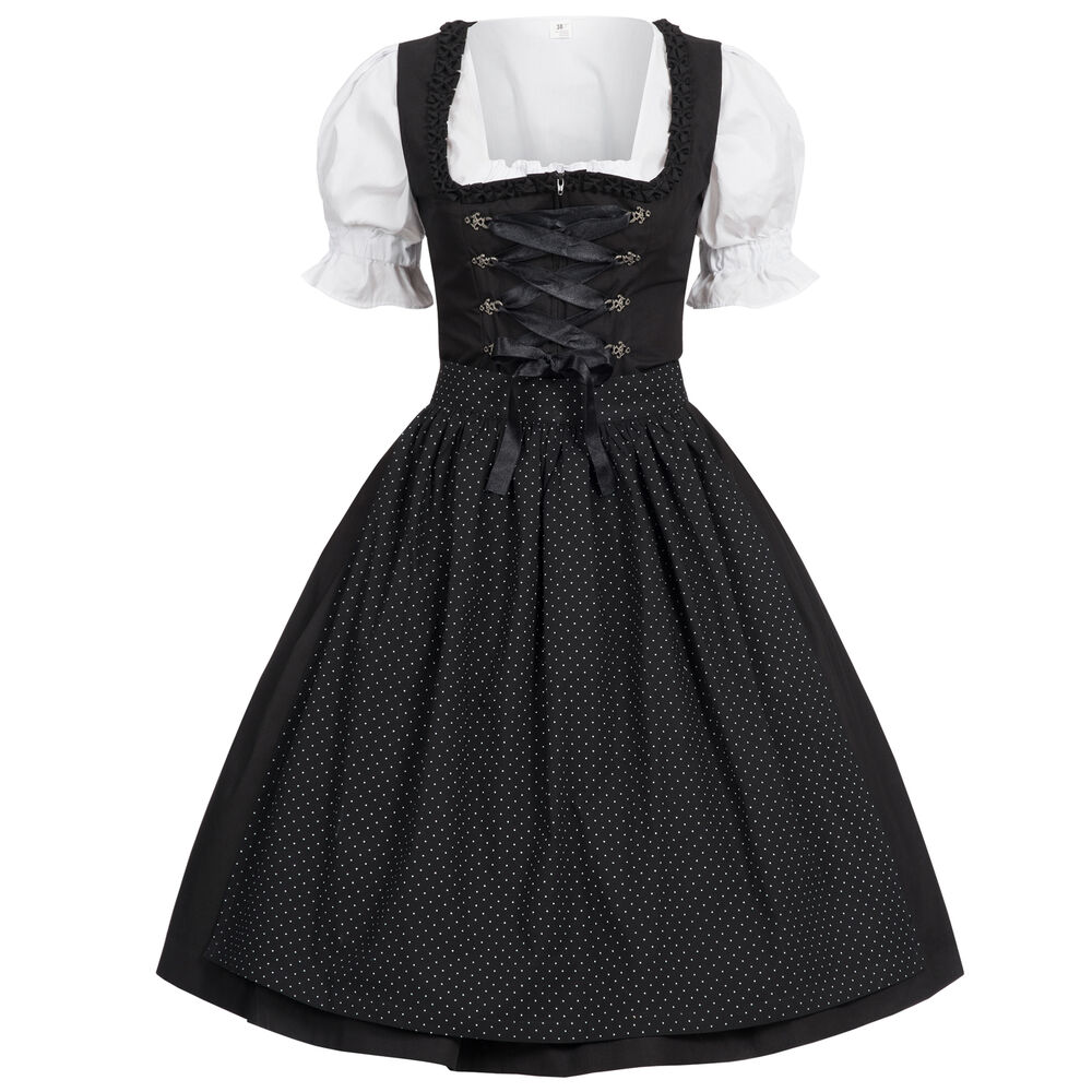 dirndl 3 tlg trachtenkleid kleid bluse sch rze gr 34. Black Bedroom Furniture Sets. Home Design Ideas