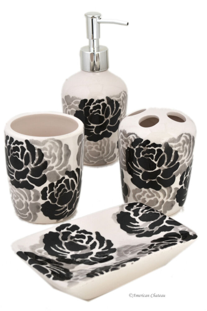 Set 4 piece black grey white floral ceramic bathroom for Floral bath accessories