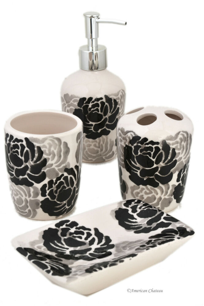 Set 4 piece black grey white floral ceramic bathroom for Black and white bath accessories