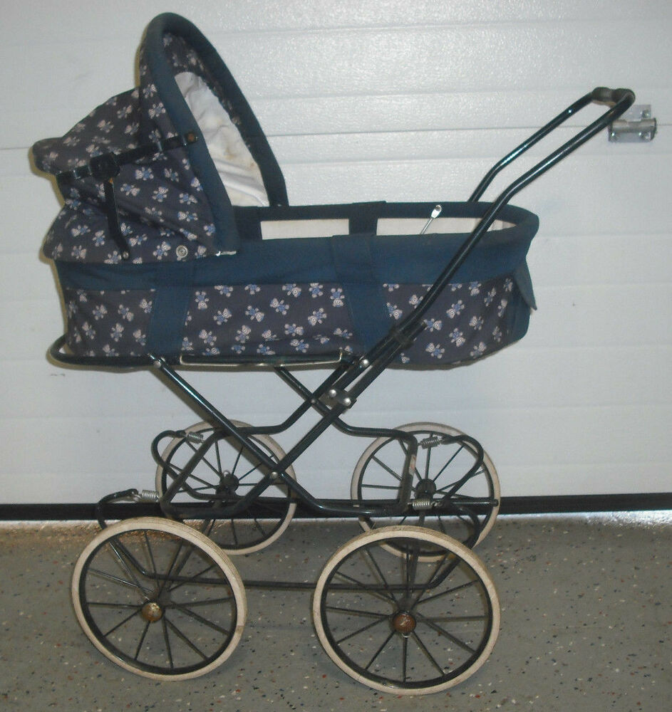 Vintage Simo Baby Doll Carriage Stroller Dark Blue Bear