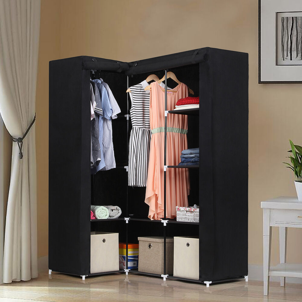 eck kleiderschrank faltschrank stoffschrank garderob schrank 129x169x87cm lsf42h ebay. Black Bedroom Furniture Sets. Home Design Ideas