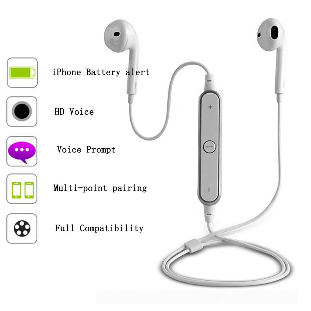 neckband white wireless stereo music bluetooth headphones. Black Bedroom Furniture Sets. Home Design Ideas