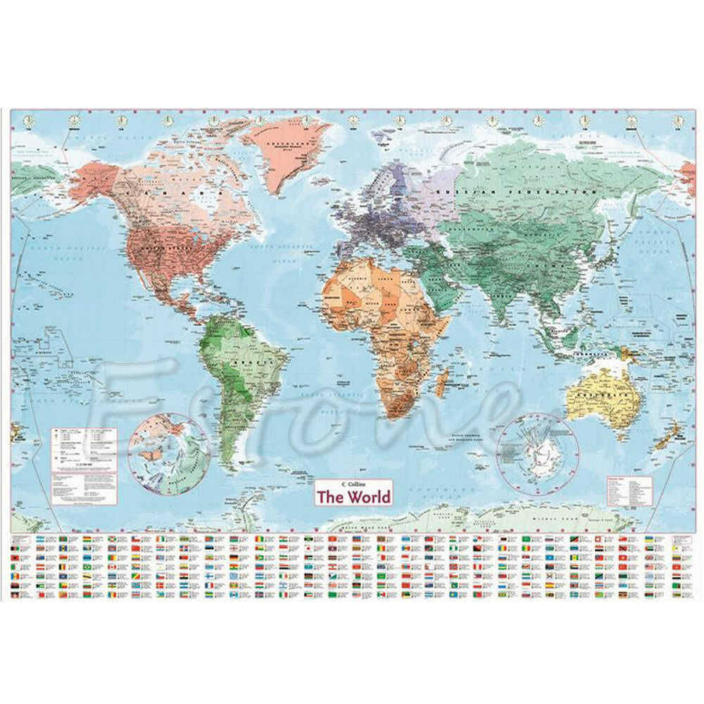 wall map of the world chart political flags poster world map home art decor gift ebay. Black Bedroom Furniture Sets. Home Design Ideas