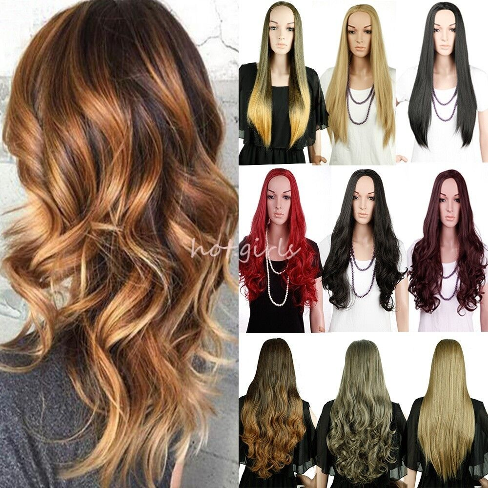 Ombre Clip In 3 4 Wigs 100 Real Heat Resistant Long Hair