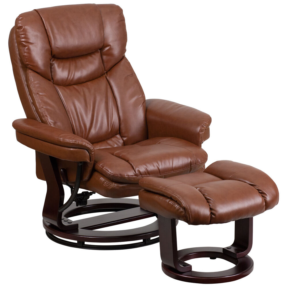 leather recliner with ottoman ebay. Black Bedroom Furniture Sets. Home Design Ideas