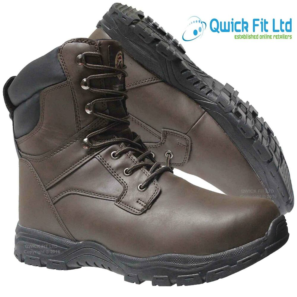 Mens Leather Thinsulate Military Boots Combat Safety Steel