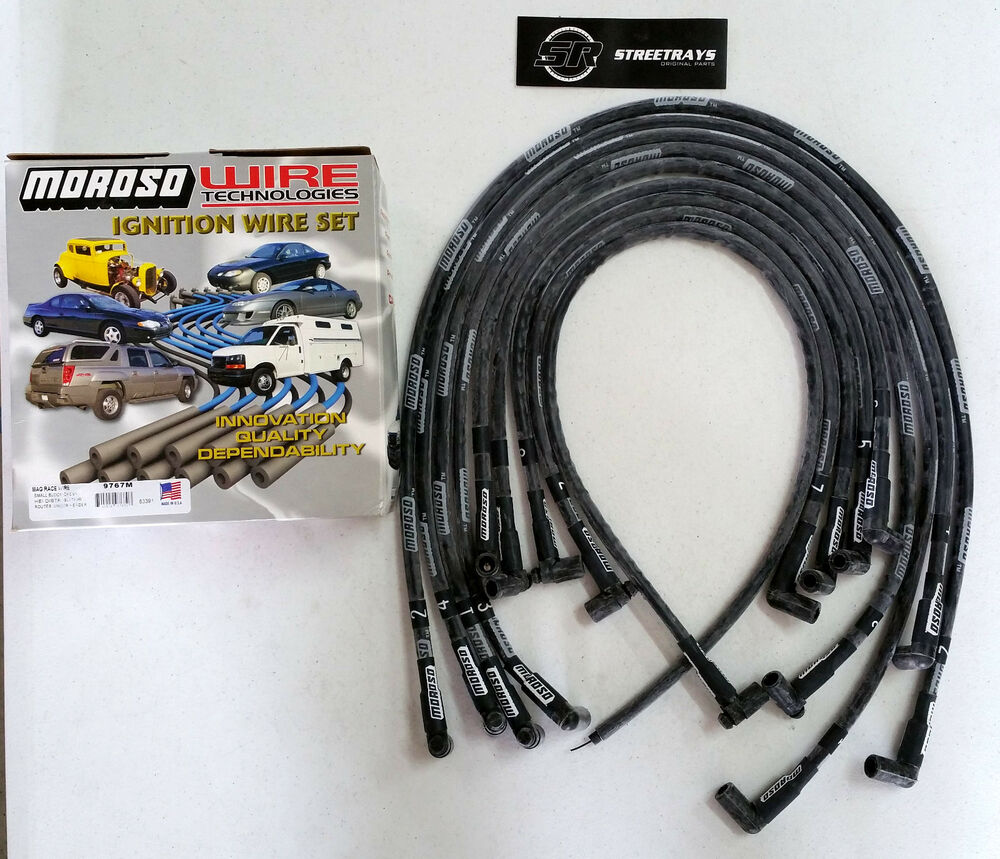 MOROSO SBC CHEVY Race Spark Plug Wires Sleeved 90 Degree