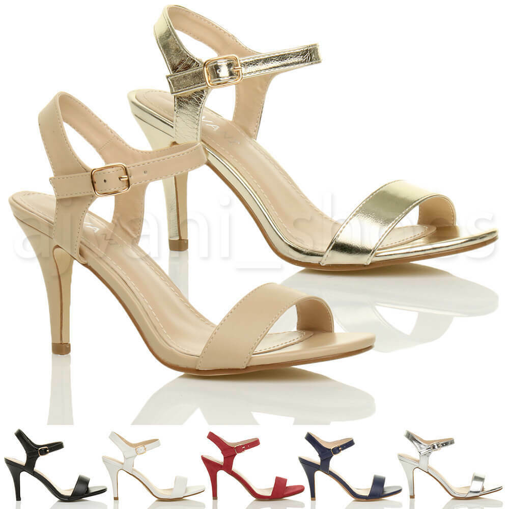 5b40423d5d6 Details about WOMENS LADIES HIGH HEEL BUCKLE STRAPPY BASIC BARELY THERE  SANDALS SHOES SIZE
