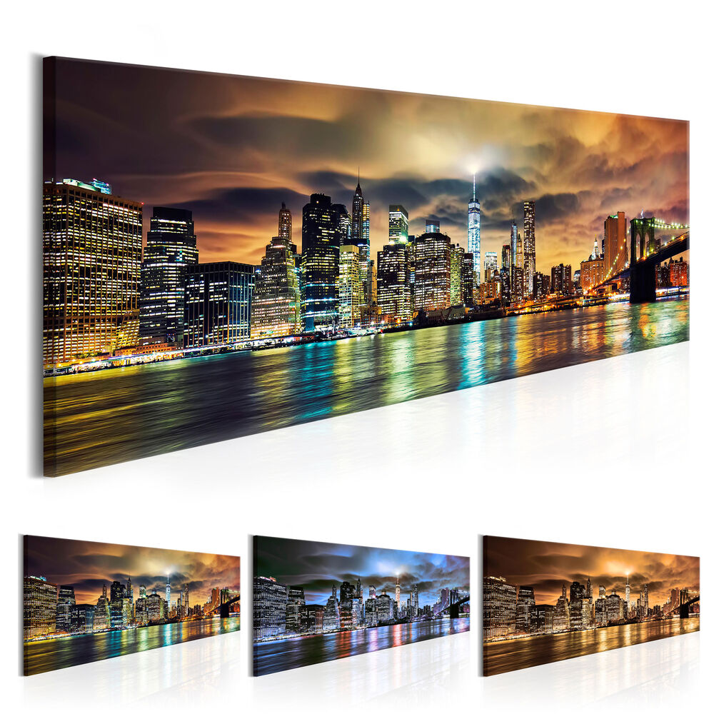 leinwand bilder xxl fertig aufgespannt bild new york stadt nacht d b 0085 b b ebay. Black Bedroom Furniture Sets. Home Design Ideas