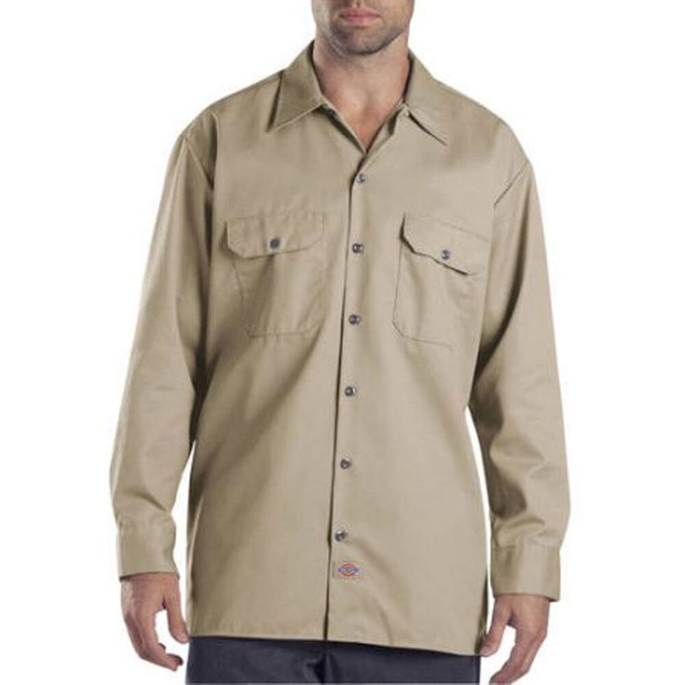 Dickies men 39 s long sleeve button down work shirt ebay for Mens long sleeve button down shirts