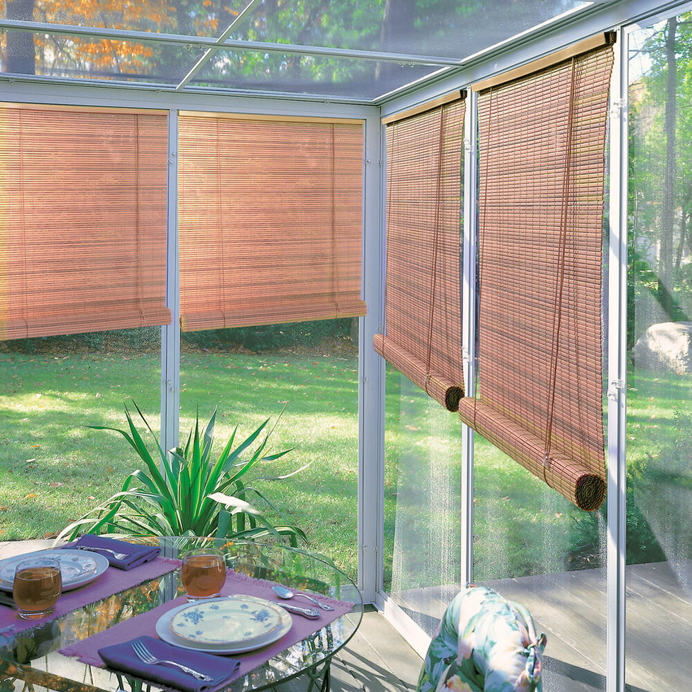 roll up blinds lewis hyman woodgrain indoor outdoor 1 4 inch rollup blind 31114