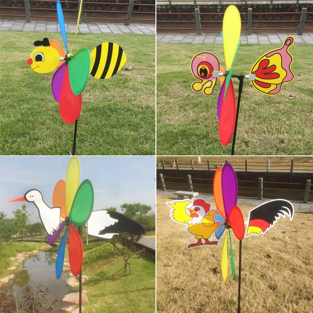 Cute 3d large animal bee windmill wind spinner whirligig for 3d garden decoration