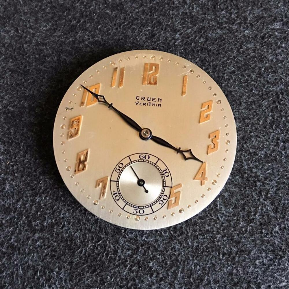 vintage 38mm gruen veri thin openface pocketwatch movement ebay. Black Bedroom Furniture Sets. Home Design Ideas