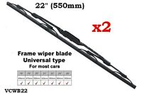"2x UNIVERSAL FRONT WINDSCREEN WIPER BLADES 22"" 22 INCH SUPERB QUALITY CAR VAN"