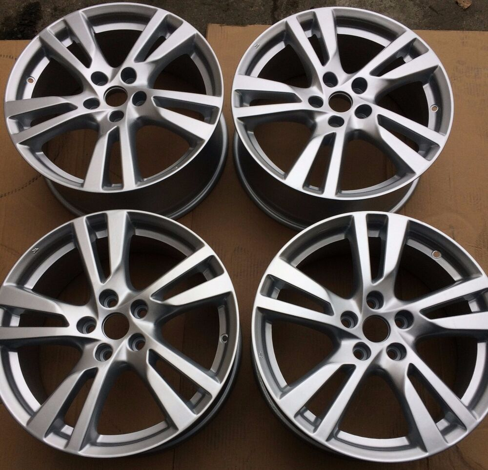 set of four 4 18 x7 5 wheels rims for nissan maxima altima silver brand new ebay. Black Bedroom Furniture Sets. Home Design Ideas