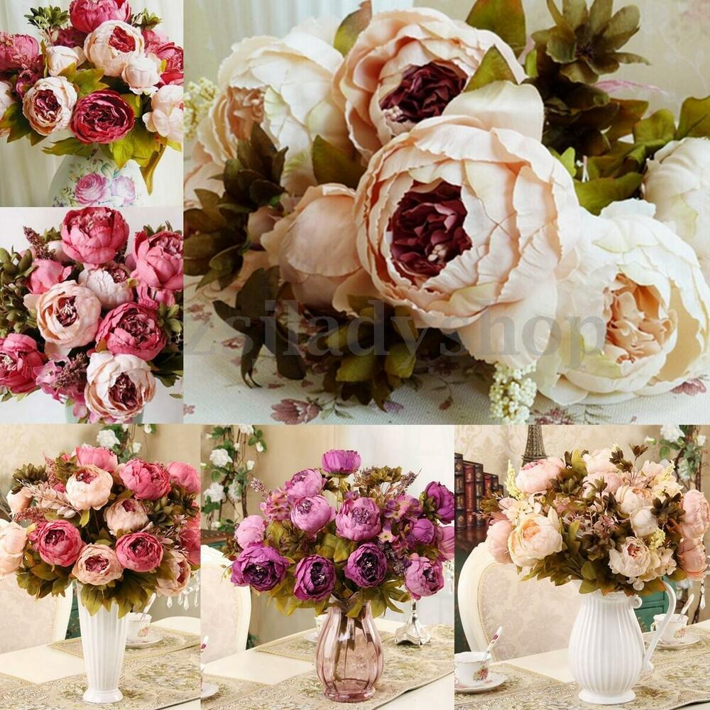 new artificial bouquet 10 head peony silk flowers fake leaf wedding party decor ebay. Black Bedroom Furniture Sets. Home Design Ideas