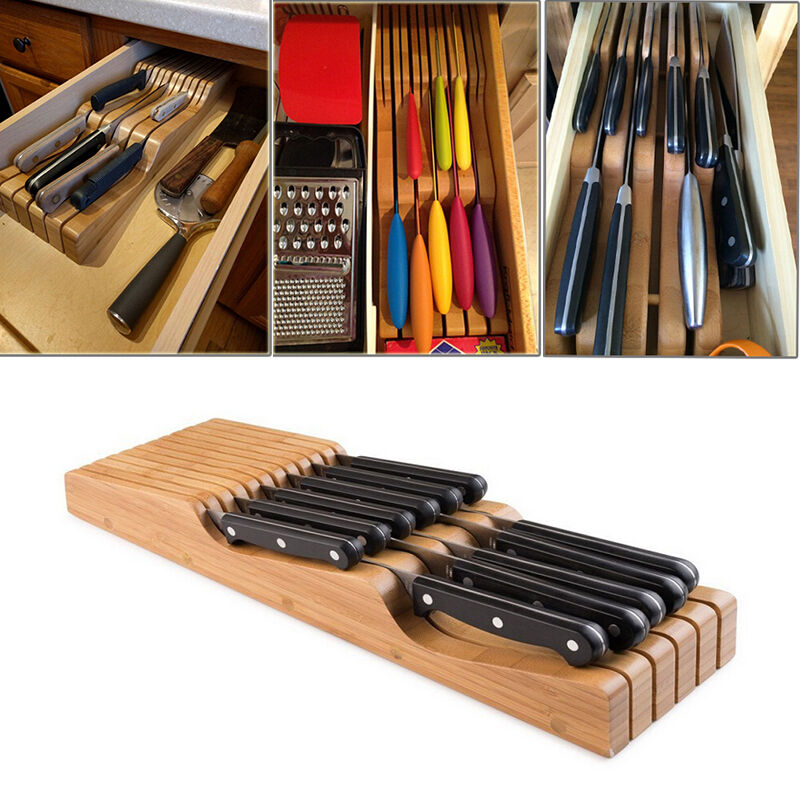 kitchen knife drawer organizer new in drawer bamboo kitchen knife storage block knife 5288