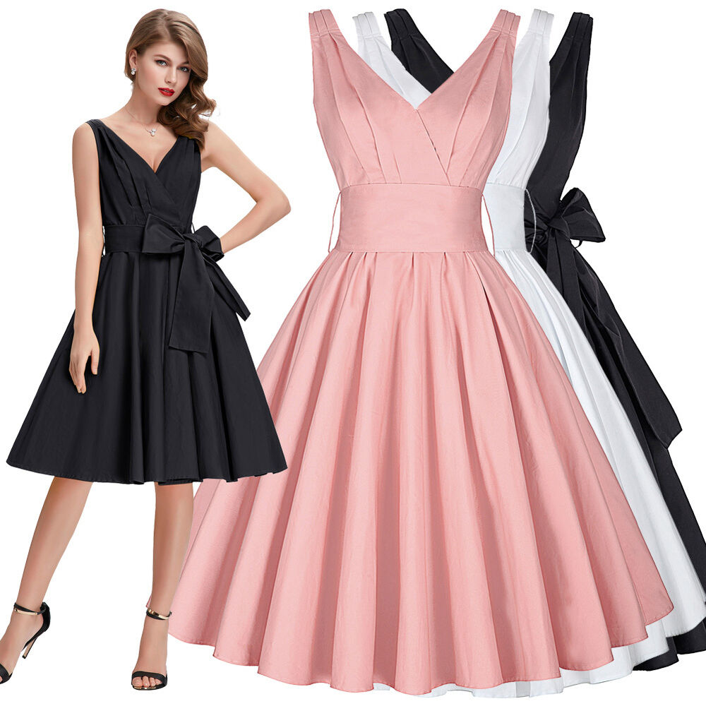 pinup retro 50er 60er jahre kleid rmellos petticoat v neck party cocktailkleid ebay. Black Bedroom Furniture Sets. Home Design Ideas