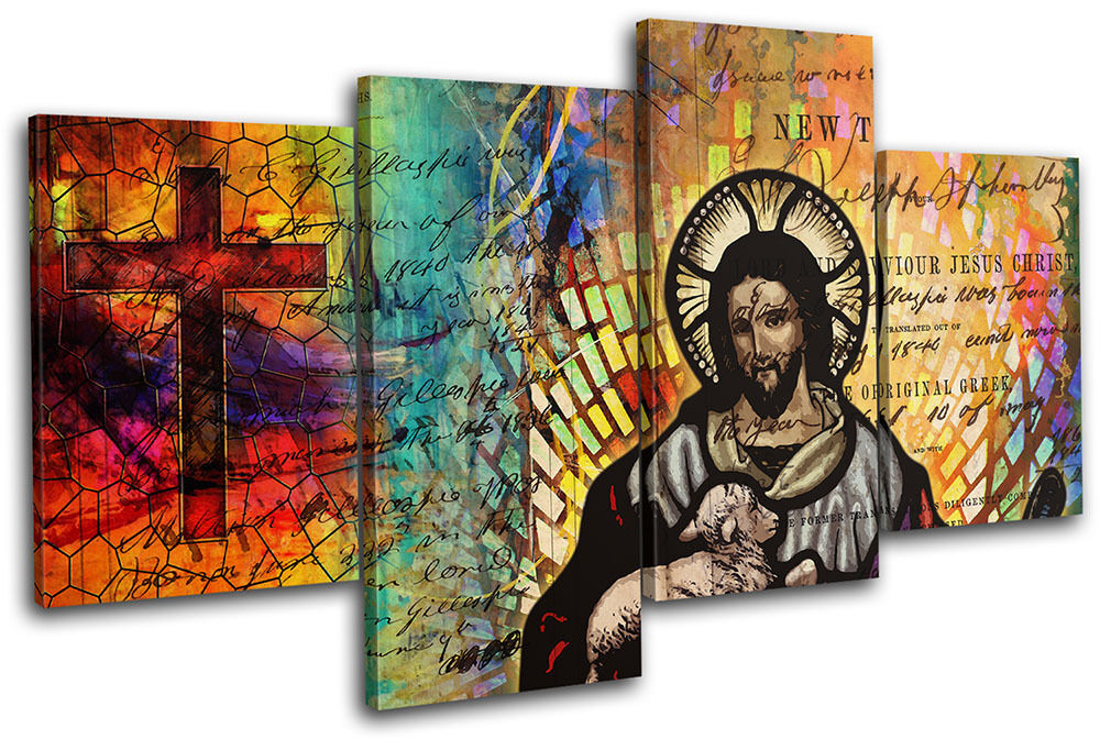 Jesus Wall Decoration : Jesus christ abstract modern religion multi canvas wall