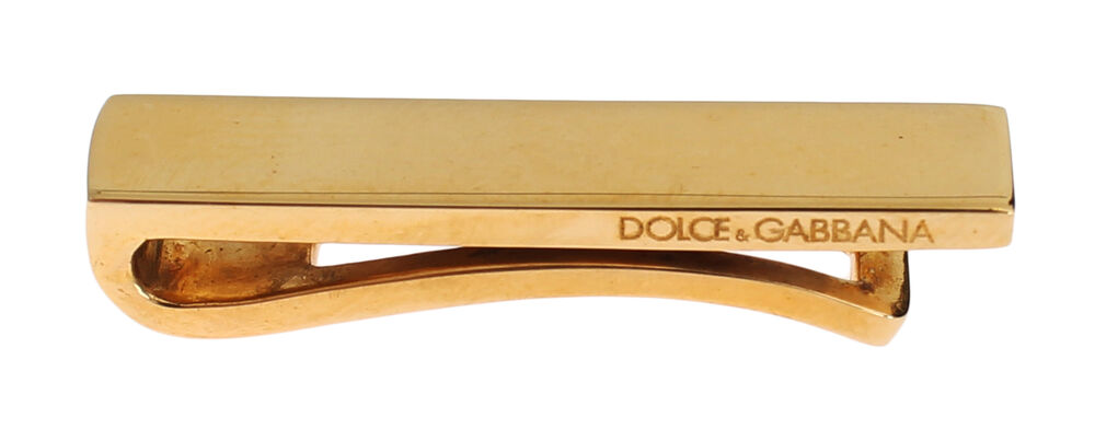 2e7117afb94b Details about NEW DOLCE & GABBANA Mens Gold Plated Brass Tie Clip Clasp Bar  Accessory Logo