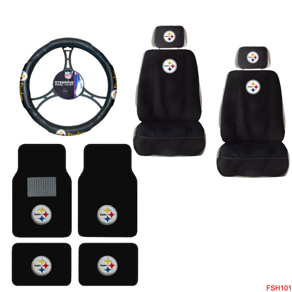 nfl pittsburgh steelers car truck seat covers steering wheel cover floor mats ebay. Black Bedroom Furniture Sets. Home Design Ideas