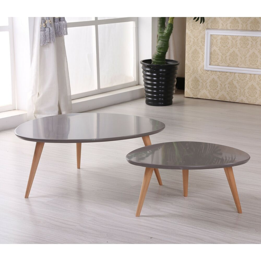 Isabella Modern Free Form Wood 2 Piece Coffee Table Set Ebay