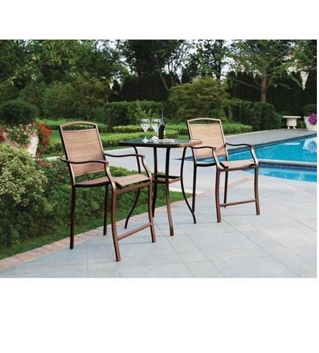 Bistro Table Bar High Chair Set 3 Pieces Outdoor Patio
