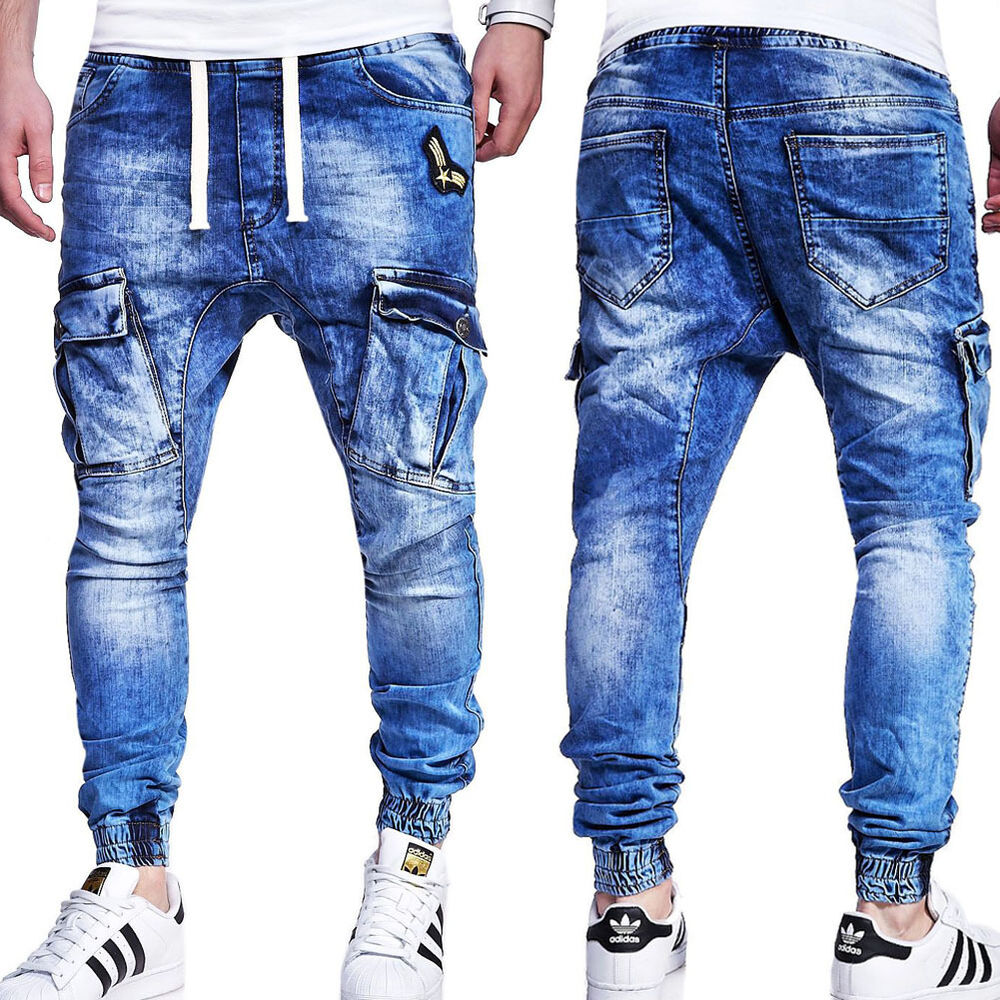 jogg jeans cargo hose chino jogginghose in jeans look blau grau. Black Bedroom Furniture Sets. Home Design Ideas