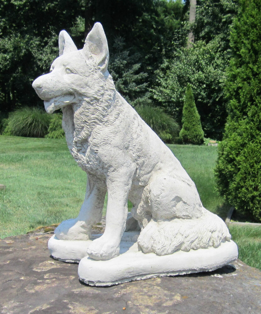 Concrete German Shepherd Statue Memorial Pet Grave
