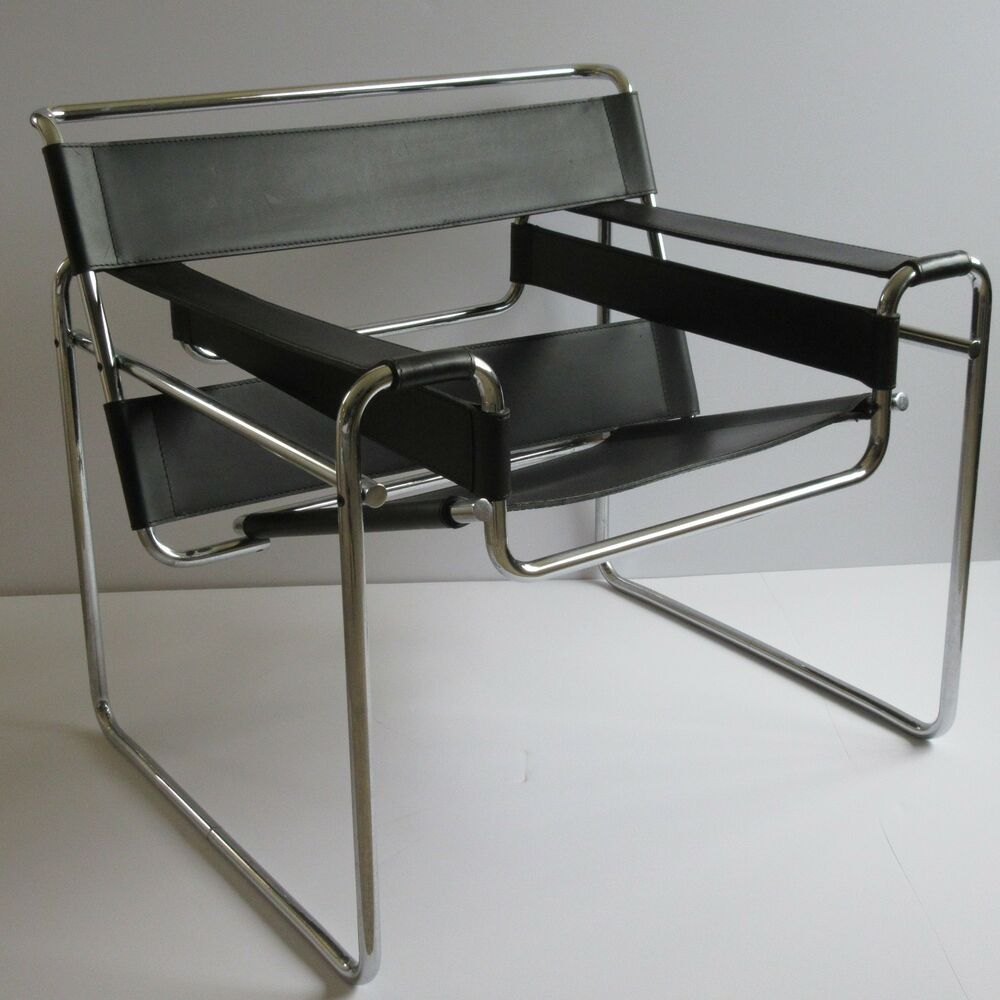 vintage knoll wassily chair leather chrome marcel breuer. Black Bedroom Furniture Sets. Home Design Ideas