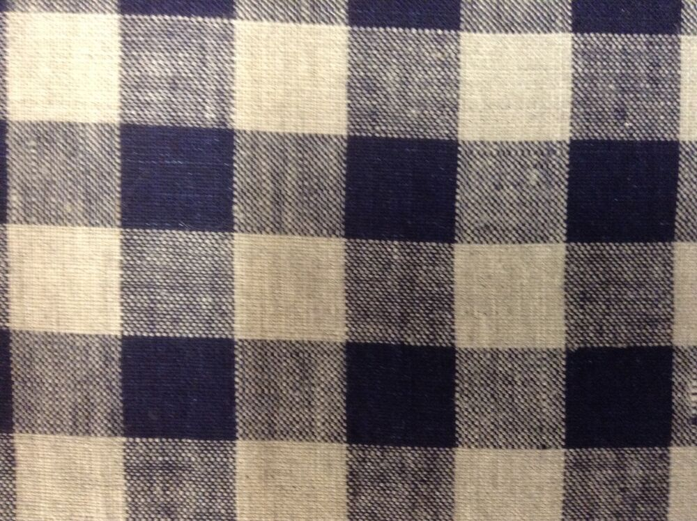 French Vintage Linen Gingham Check Navy Blue Grey Curtain