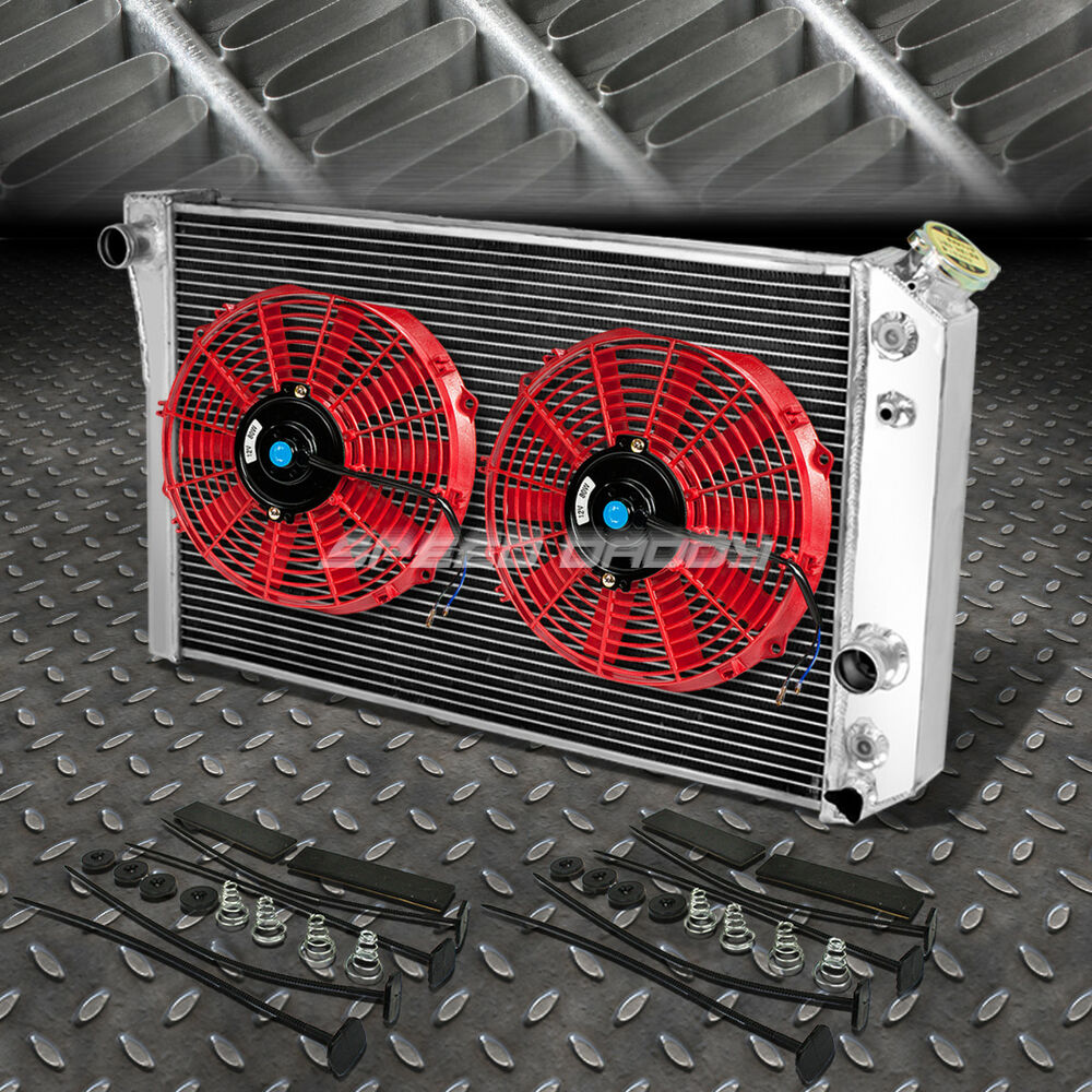 "3-ROW ALUMINUM RADIATOR+2X 10""FAN RED FOR 82-02 CHEVY S10"