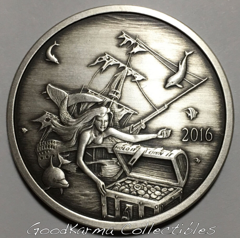 2016 Silverbug Island 3 Mermaid 1oz Silver Proof Antiqued