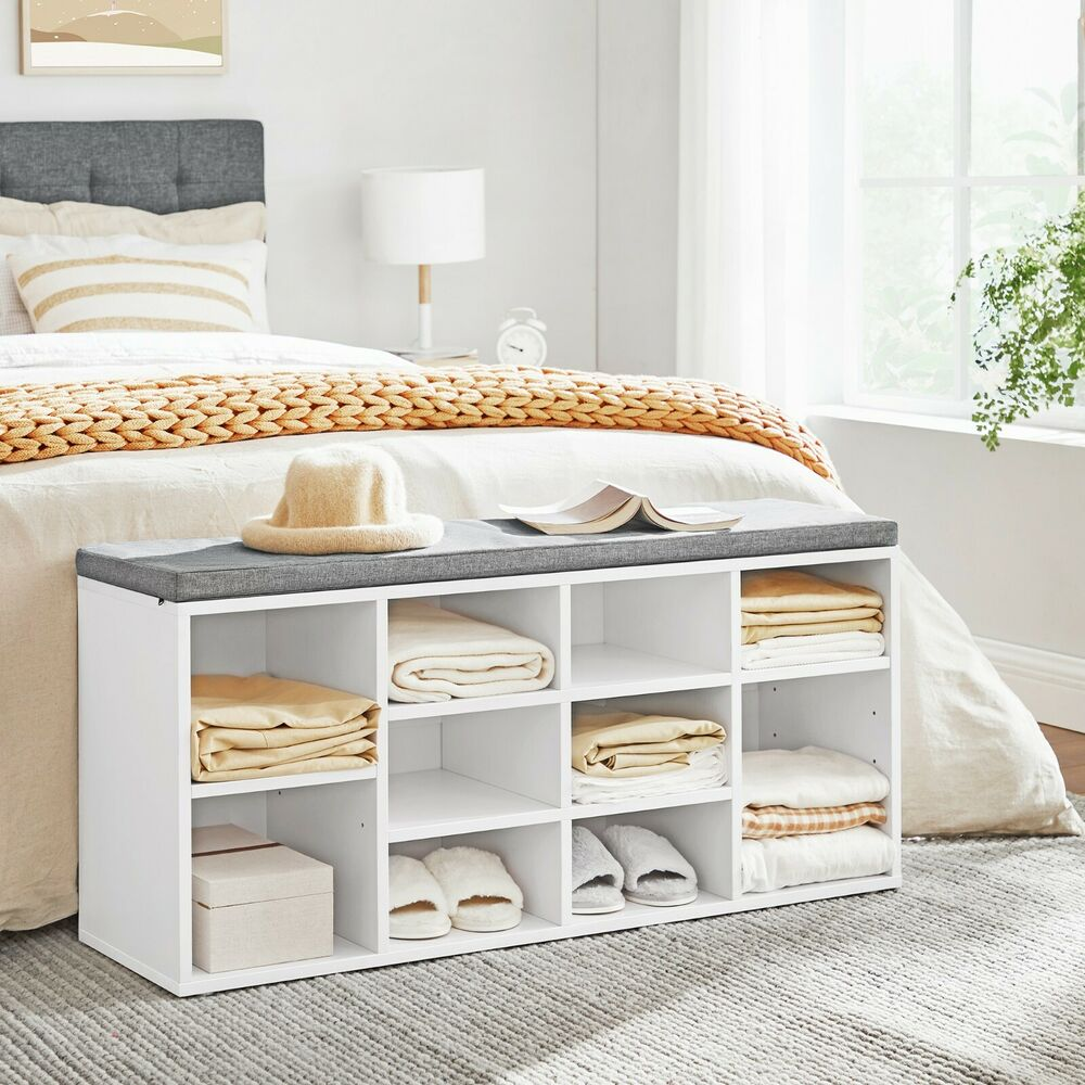 songmics schuhbank schuhschrank aus holzspanplatte mit sitzkissen lhs10w ebay. Black Bedroom Furniture Sets. Home Design Ideas