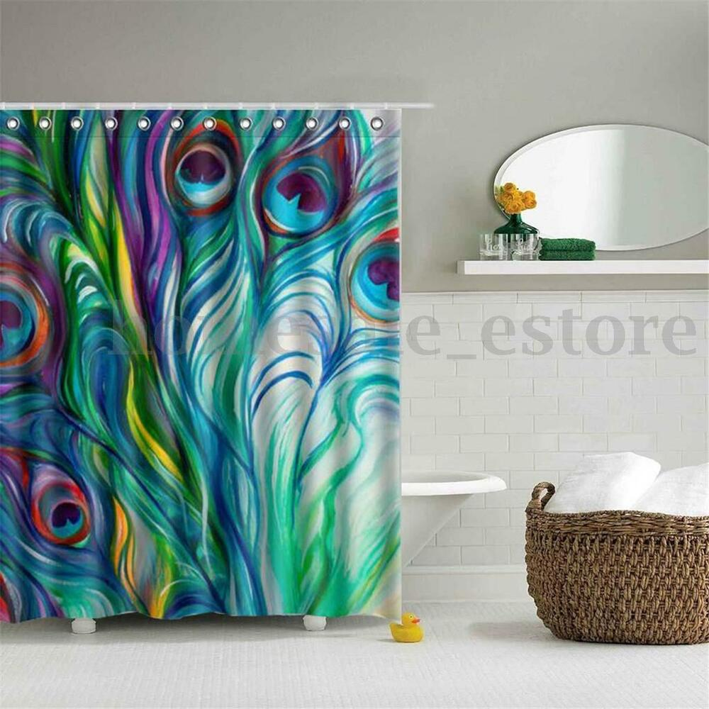 Peacock Feather Waterproof Polyester Fabric Shower Curtain