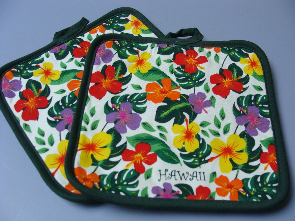 Brand new hawaiian quilted potholder hibiscus ferns multi for Where the red fern grows coloring pages