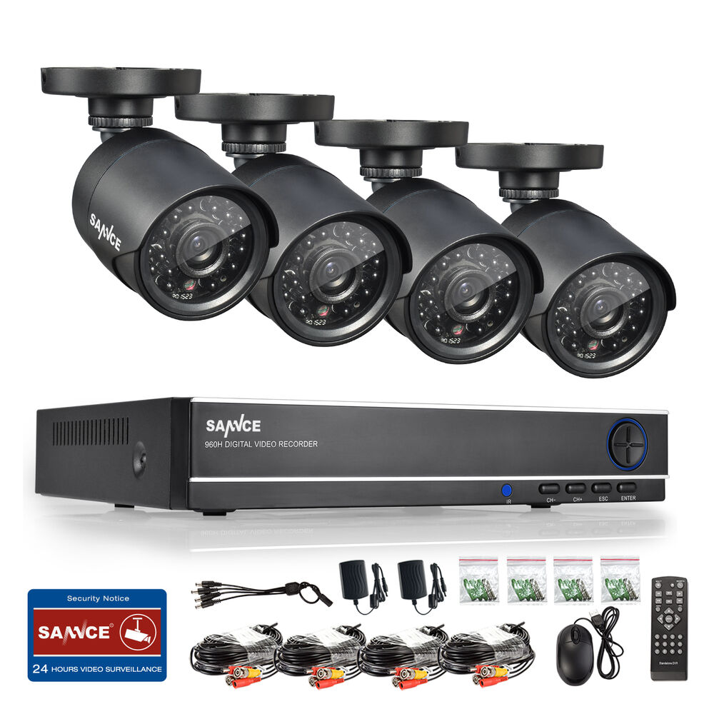 Exterior Home Security Cameras: SANNCE 8CH 1080N HDMI DVR 720P Home Security Camera System
