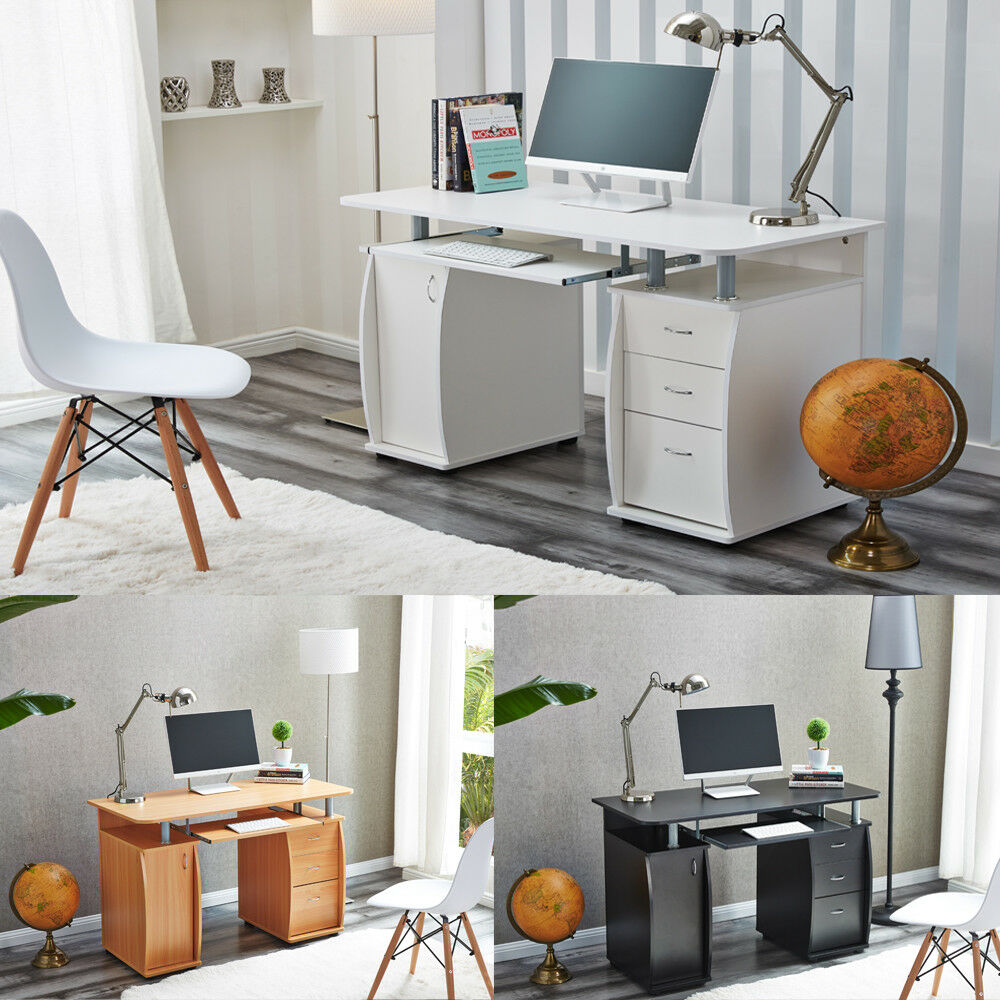 computer desk with cabinet and 3 drawers for home office pc table study raygar ebay. Black Bedroom Furniture Sets. Home Design Ideas