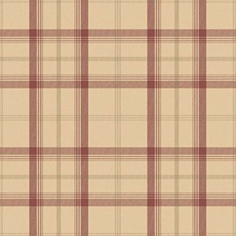 Cambridge plaid wallpaper rolls red gold fd40532 for Red check wallpaper