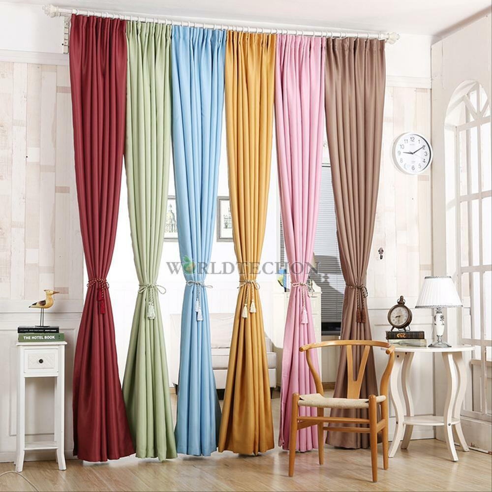 Thick Blackout Thermal Grommet Foam Lined Solid Window Curtain Treatment Drape Ebay