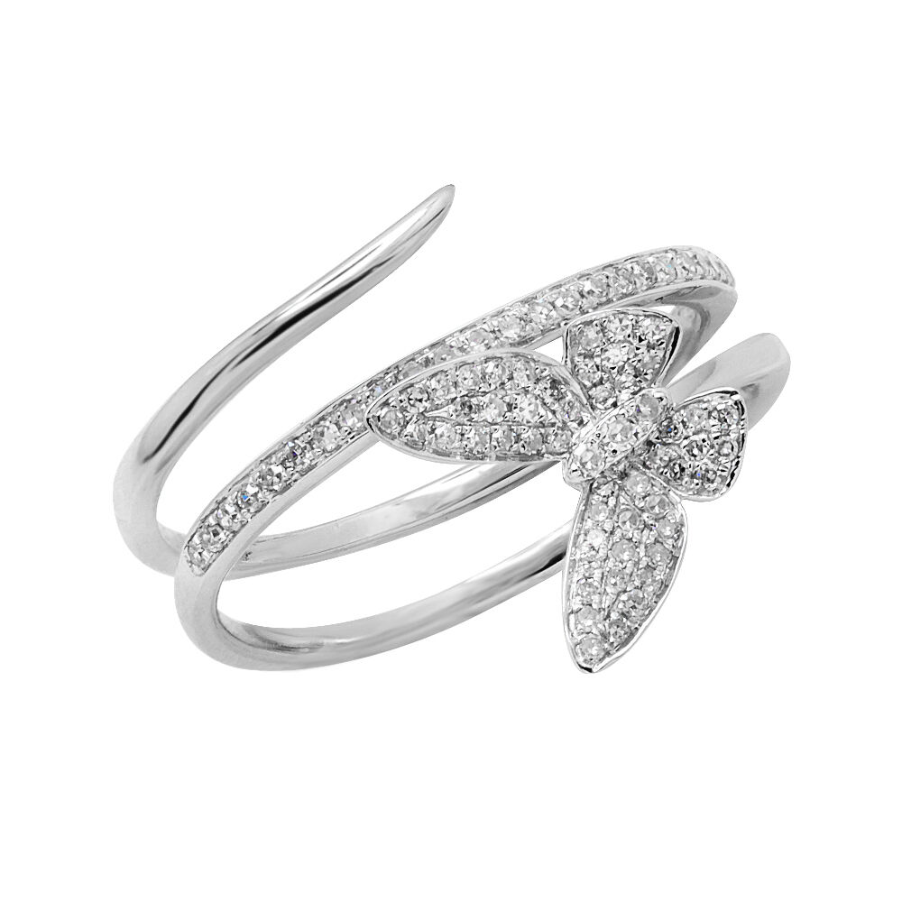 14k white gold pave butterfly cocktail fashion