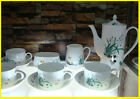 """15 Piece"" Bone European Overglaze Orchid Coffee Tea Set Teaset"
