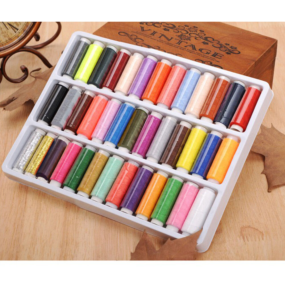 39 Lot Mixed Colors Polyester Spool Sewing Thread Quilting