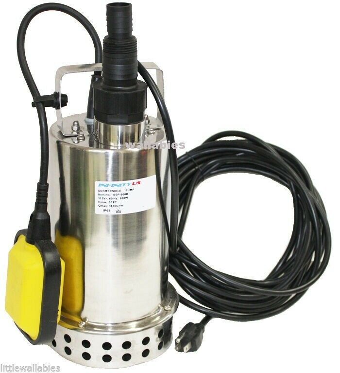 1 1 4hp 3300 gph stainless steel submersible pump sump for Pond drain pump