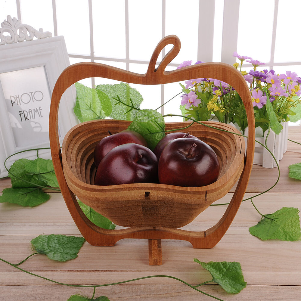 Collapsible Apple Shaped Bamboo Basket Kitchen Fruit