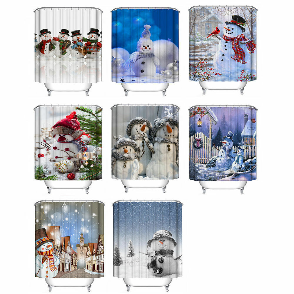 Merry Christmas Snowman Waterproof Bathroom Fabric Shower Curtain With 12 Hooks Ebay