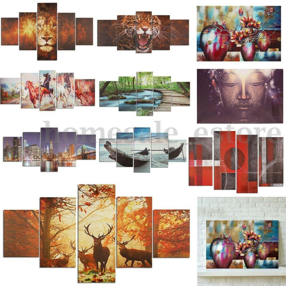 5PCS Wall Canvas Painting Art Oil Print Pictures Living