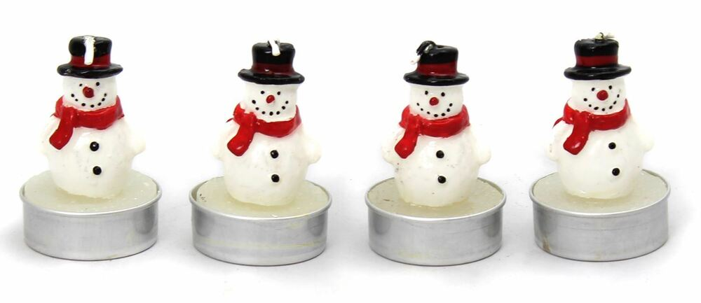 Set of 4 snowman tealight christmas table wax candle for Decoration wax