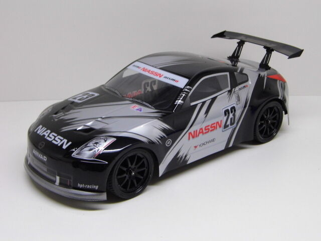 rc car karosserie 1 10 nissan 350z in schwarz silber. Black Bedroom Furniture Sets. Home Design Ideas